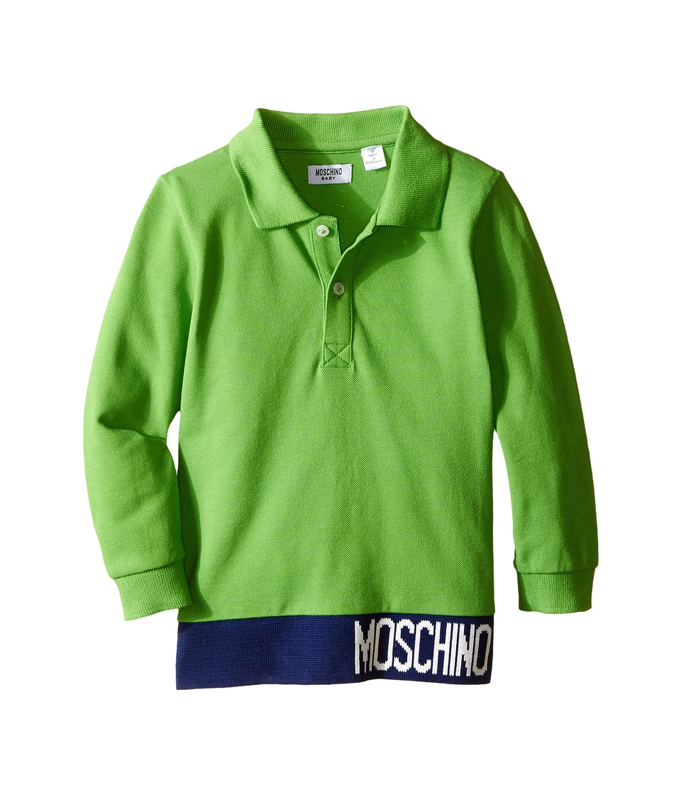 Moschino Kids - Long Sleeve Polo w/ Contrast Hem and Logo (Infant/Toddler) (Green) Boy's T Shirt