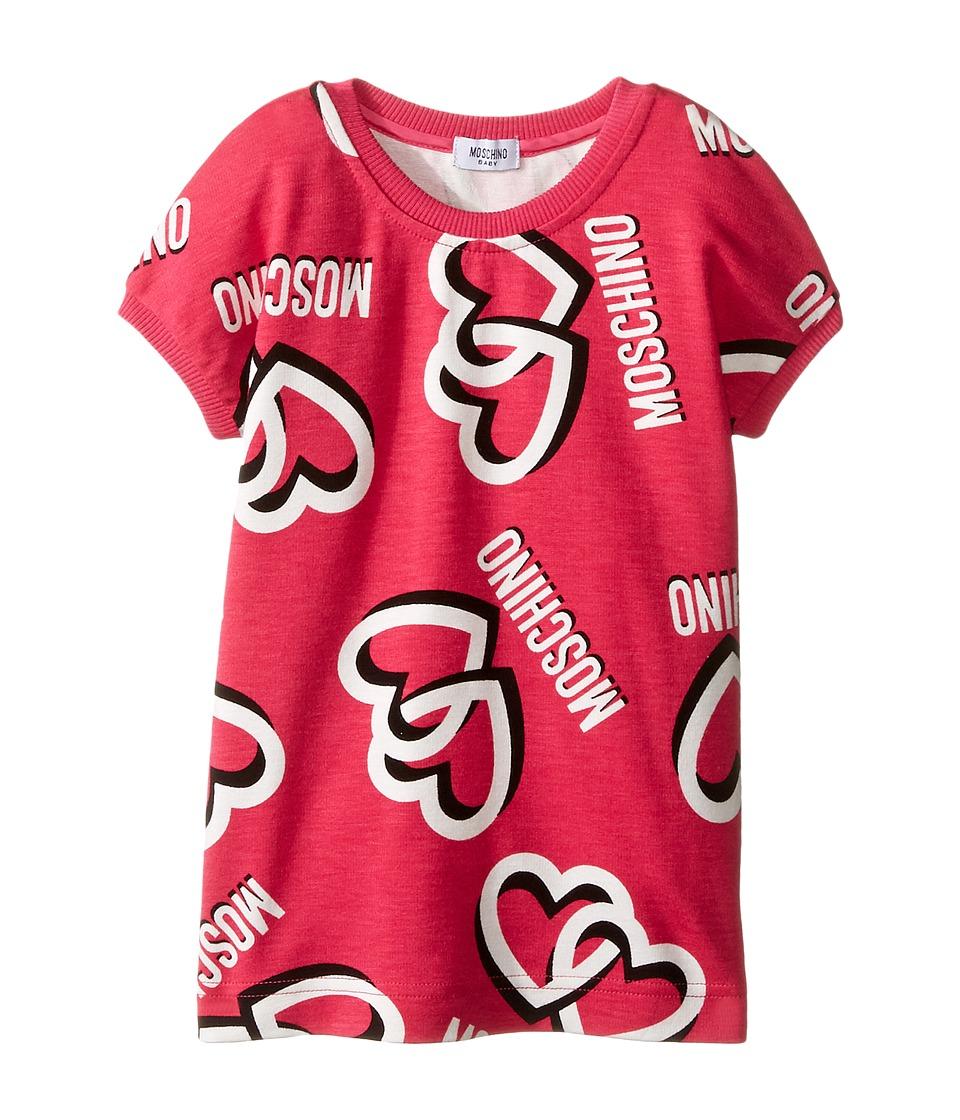 Moschino Kids - Heart Short Sleeve Sweatshirt (Infant/Toddler) (Pink) Girl's Sweatshirt
