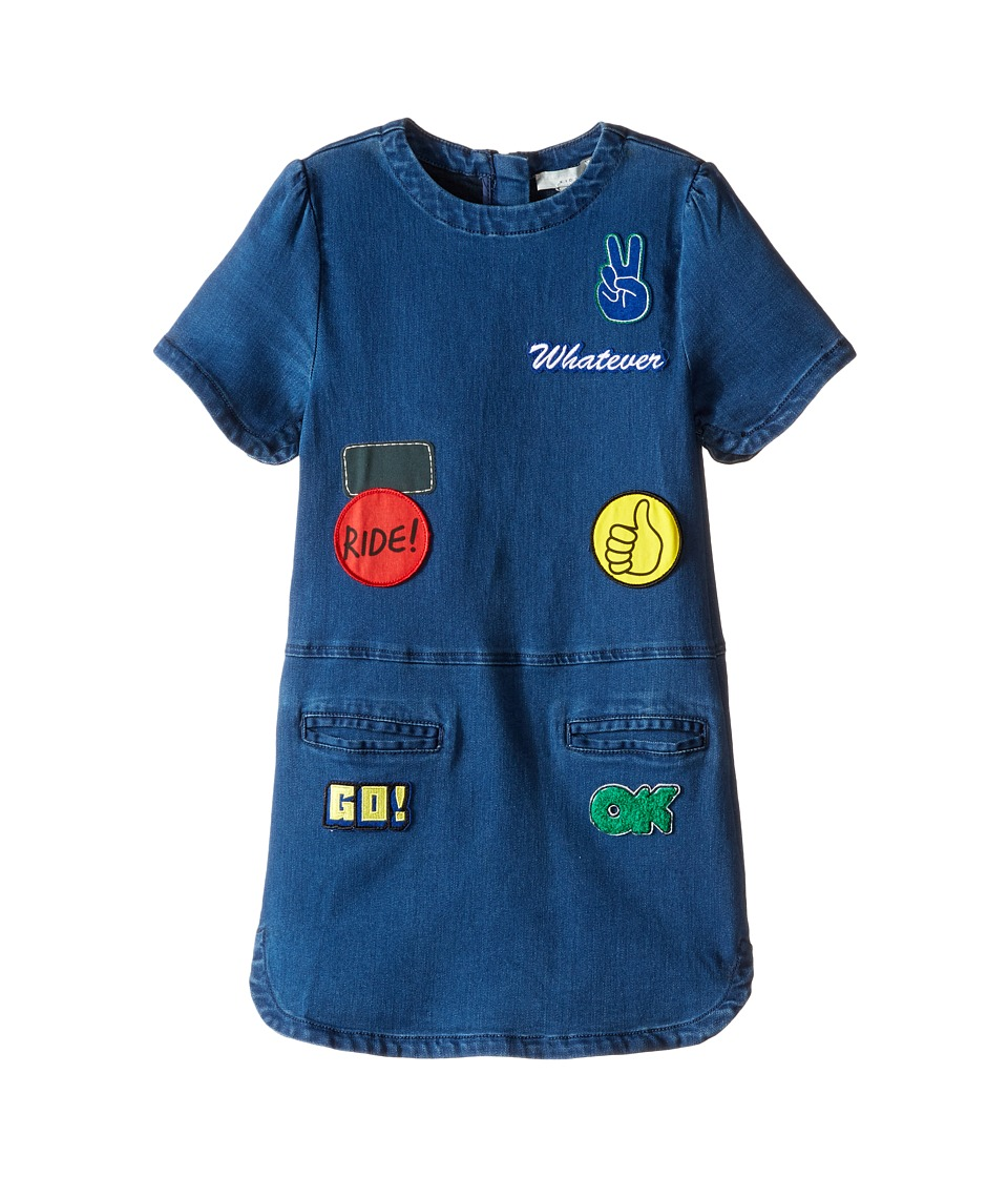 Stella McCartney Kids - Maude Denim Dress with Badges (Toddler/Little Kids/Big Kids) (Night Sky) Girl's Dress