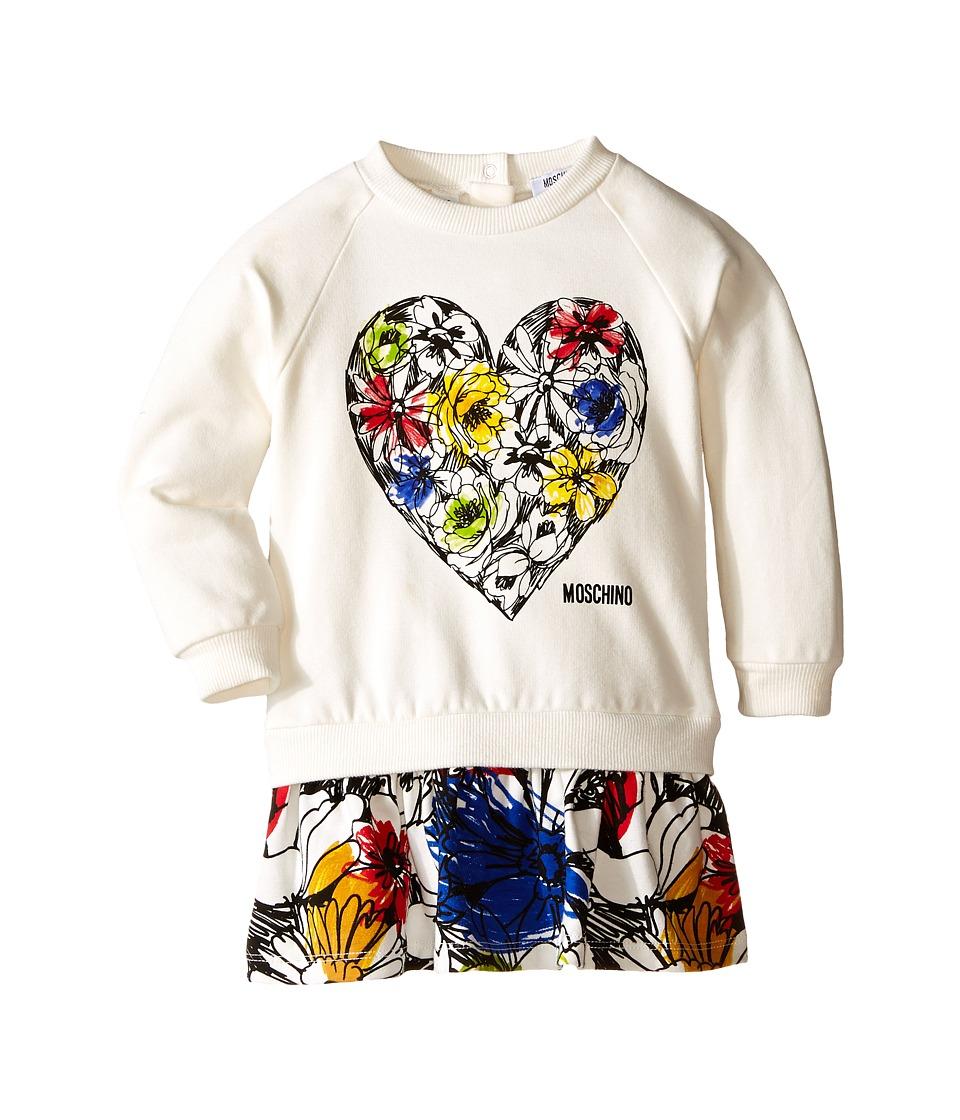 Moschino Kids - Dropwaist Sweatdress w/ Floral Flounce (Infant/Toddler) (White/Multi) Girl's Dress