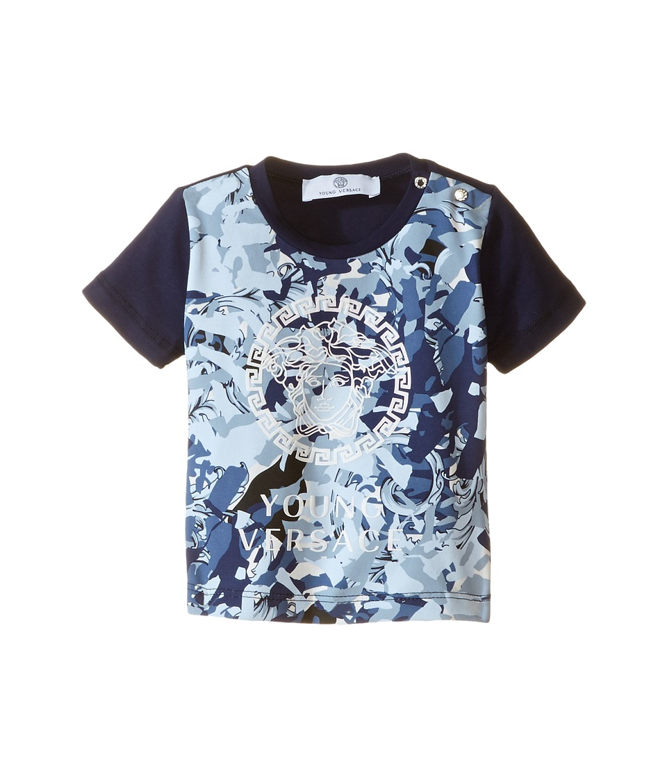 Versace Kids - Short Sleeve Tee with Logo Detail (Infant) (Blue Print) Boy's T Shirt