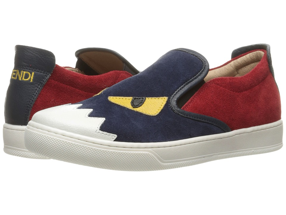 Fendi Kids - Slip-On Monster Sneakers (Big Kid) (Blue/Red) Boys Shoes