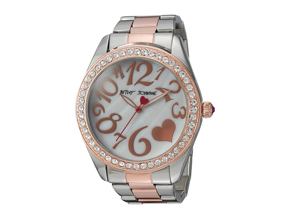 Betsey Johnson - BJ00249-39 - Two-Tone Heart Face (Silver/Rose Gold) Watches