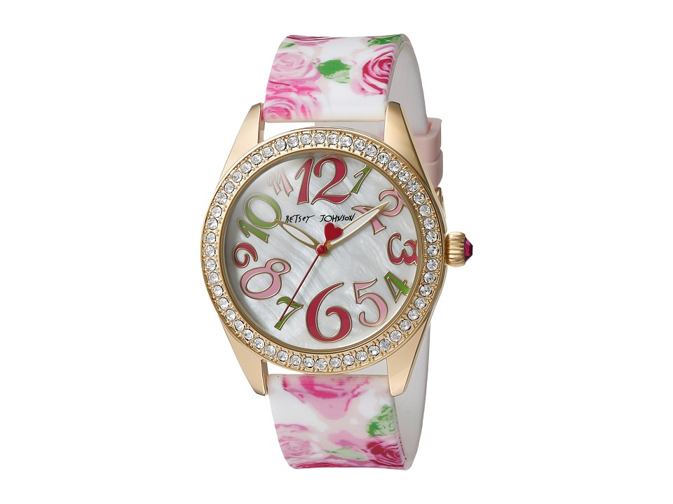 Betsey Johnson - BJ00048-180 - Rose Print Silicone (Gold) Watches