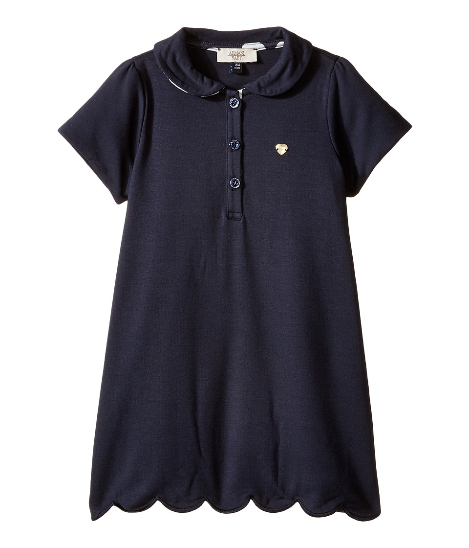 Armani Junior - Short Sleeve Dress with Scallop Hem (Infant) (Navy) Girl's Dress