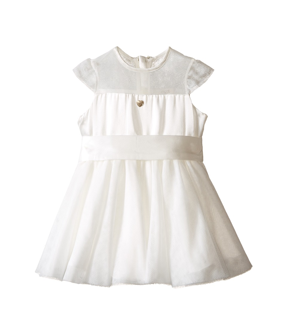 Armani Junior - Tulle Cap Sleeve Dress (Infant) (Bianco Latte) Girl's Dress