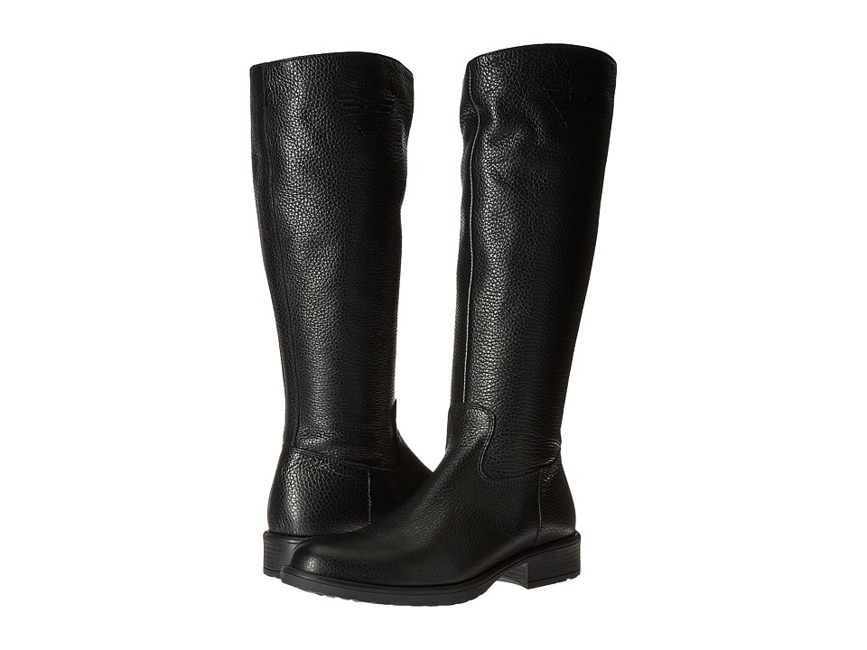 Armani Junior - Tall Leather Boots with Armani Logo (Little Kid/Big Kid) (Black) Girls Shoes