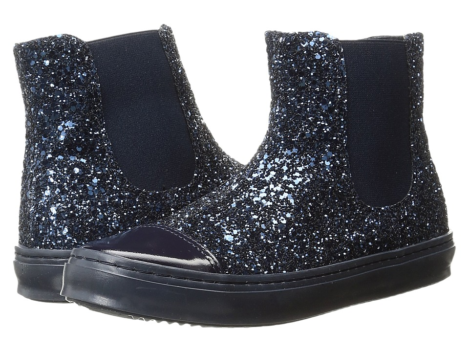 Armani Junior - Glitter High Top Sneakers (Little Kid/Big Kid) (Navy) Girl's Shoes