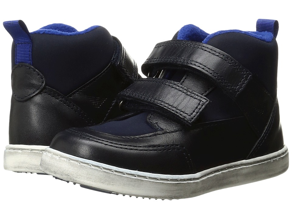 Armani Junior - High Top Hook-and-Loop Sneaker (Toddler) (Navy) Boy's Shoes