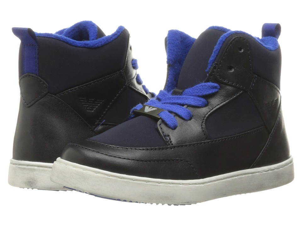 Armani Junior - High Top Sneaker (Toddler/Little Kid/Big Kid) (Navy) Boy's Shoes