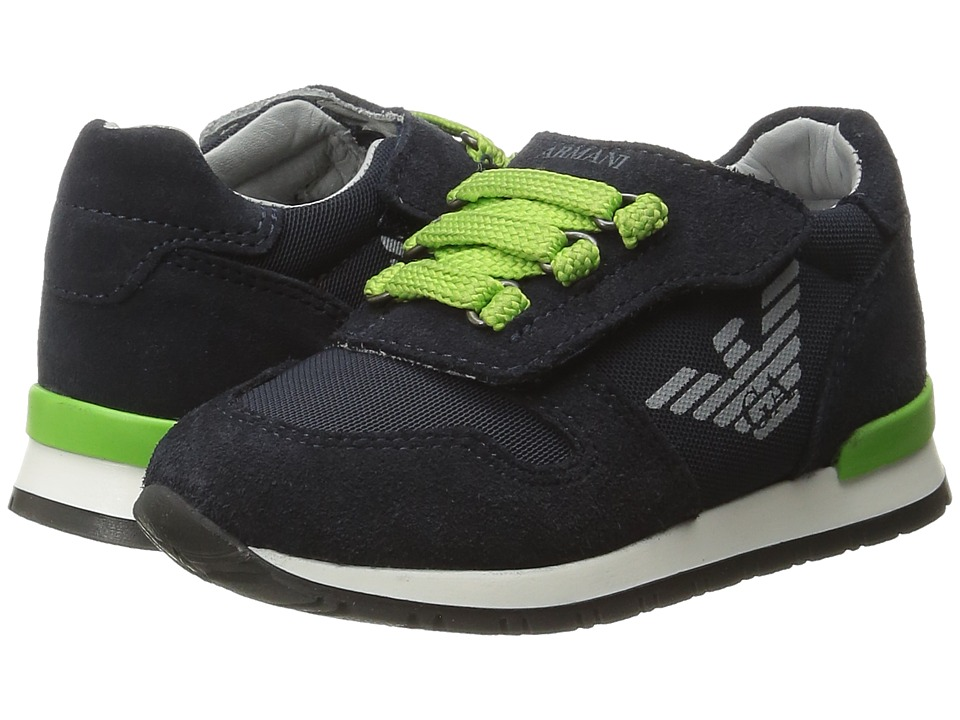 Armani Junior - Sneaker with Green Detailing (Infant/Toddler) (Navy) Boy's Shoes