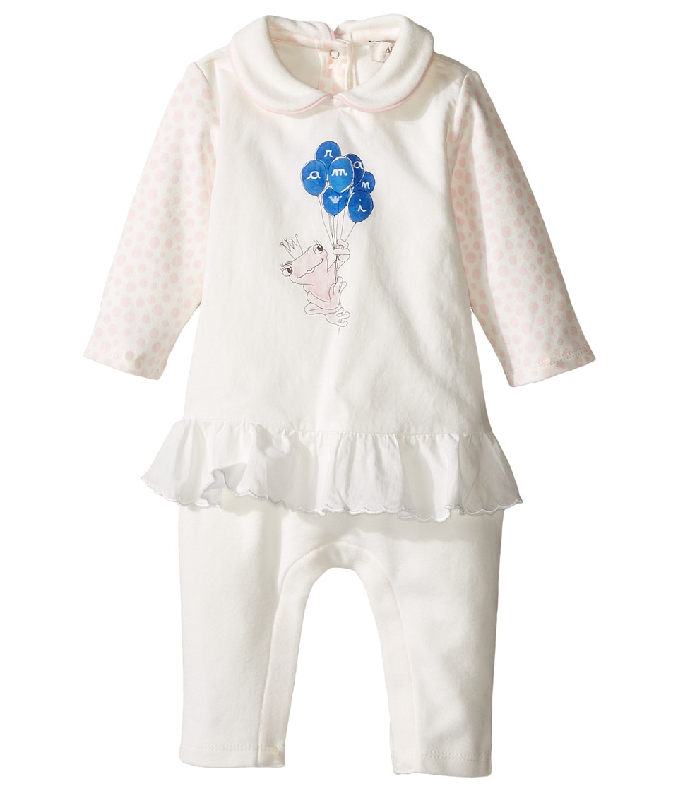Armani Junior - Polka Dot Flutter Frog Footie (Infant) (Bianco Latte) Girl's Jumpsuit & Rompers One Piece