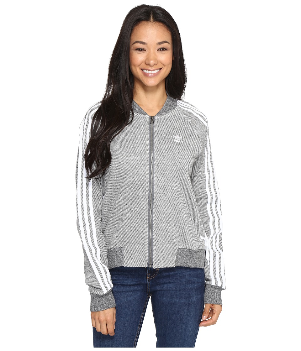 adidas Originals - Drawcord Track Top (Medium Grey Heather) Women's Clothing