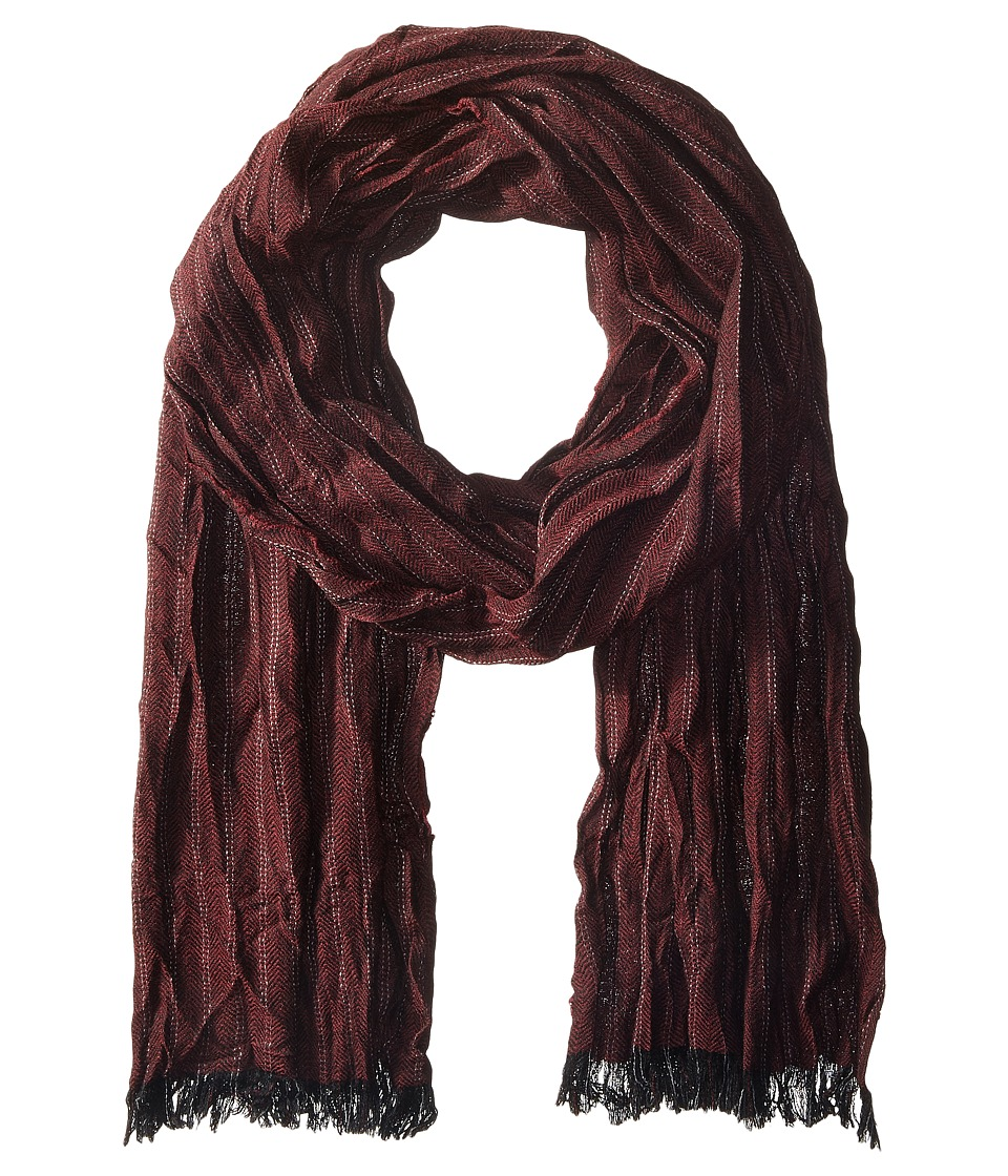 John Varvatos Star U.S.A. - Herringbone (Black/Garnet/Silver Heather) Scarves