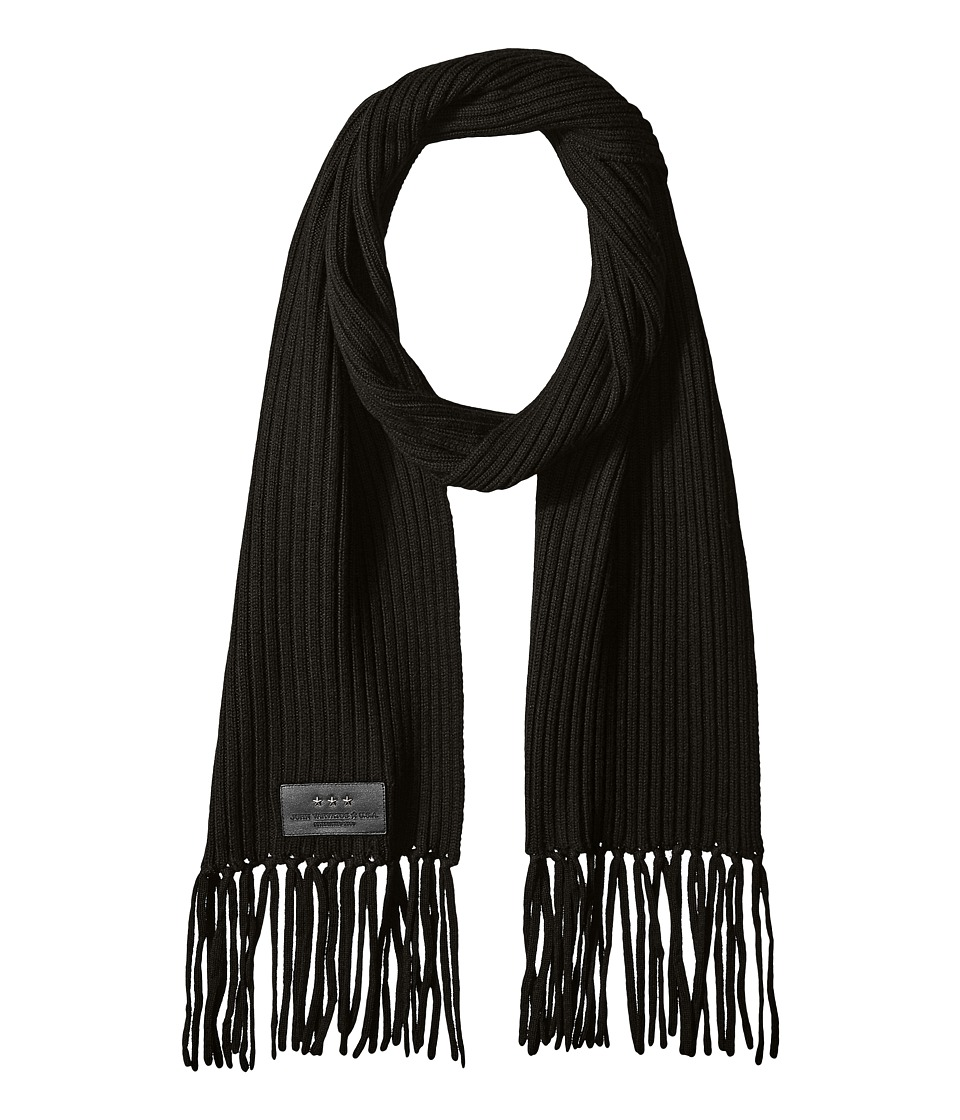 John Varvatos Star U.S.A. - 2x2 Rib Knit Scarf (Black) Scarves