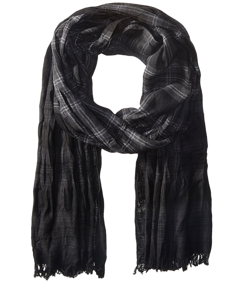 John Varvatos Star U.S.A. - Shirt Plaid Dip-Dye (Black/Charcoal/Silver Heather) Scarves