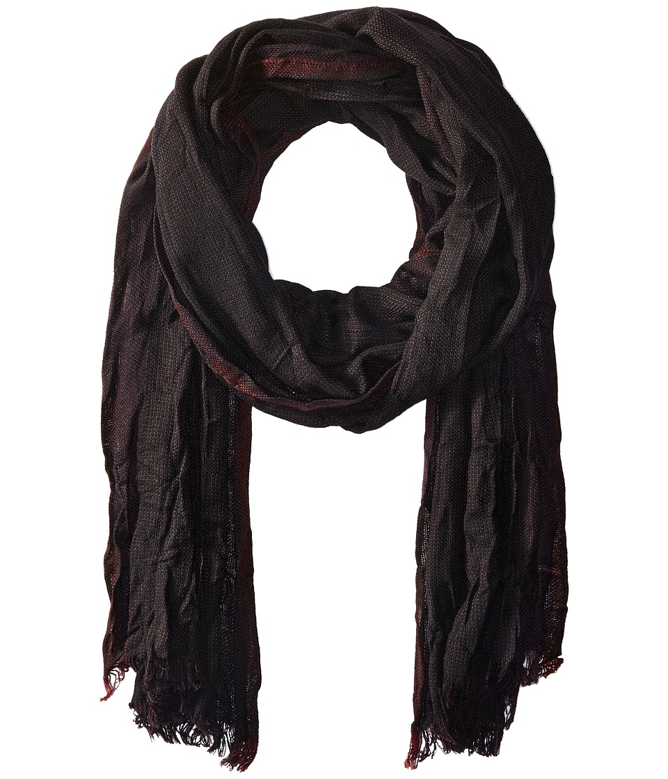 John Varvatos Star U.S.A. - End on End Scarf (Black/Port/Garnet) Scarves