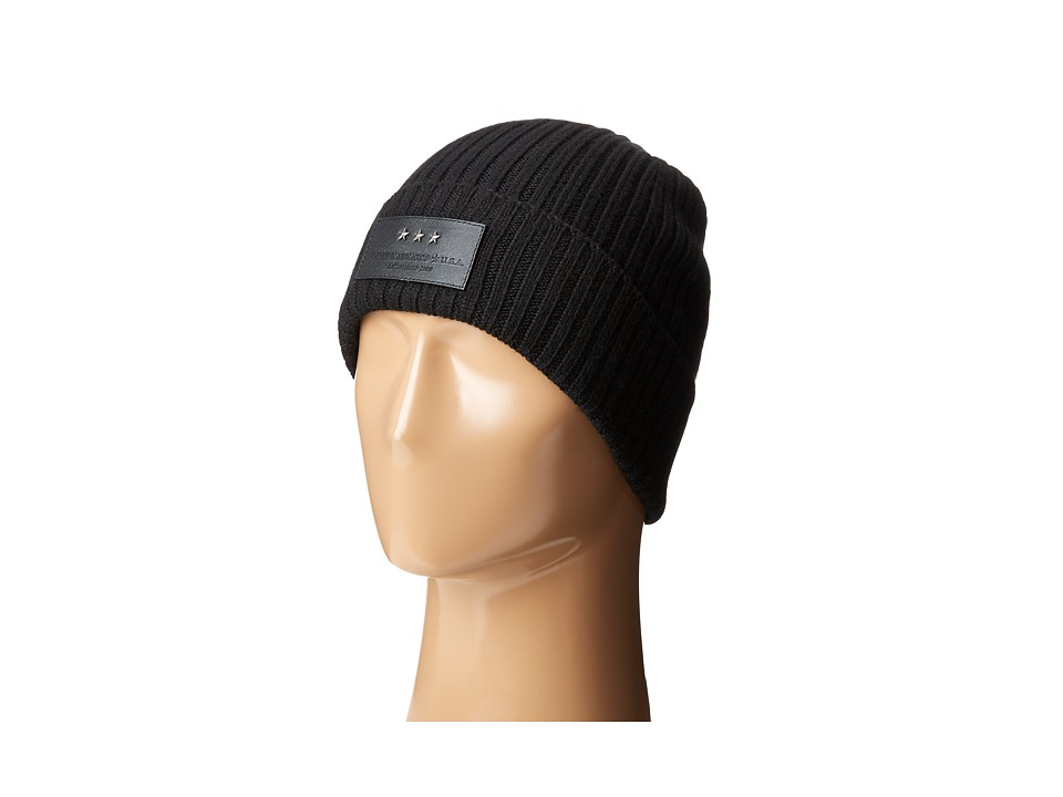 John Varvatos Star U.S.A. - 2x2 Rib Knit Hat with Cuff (Black) Knit Hats