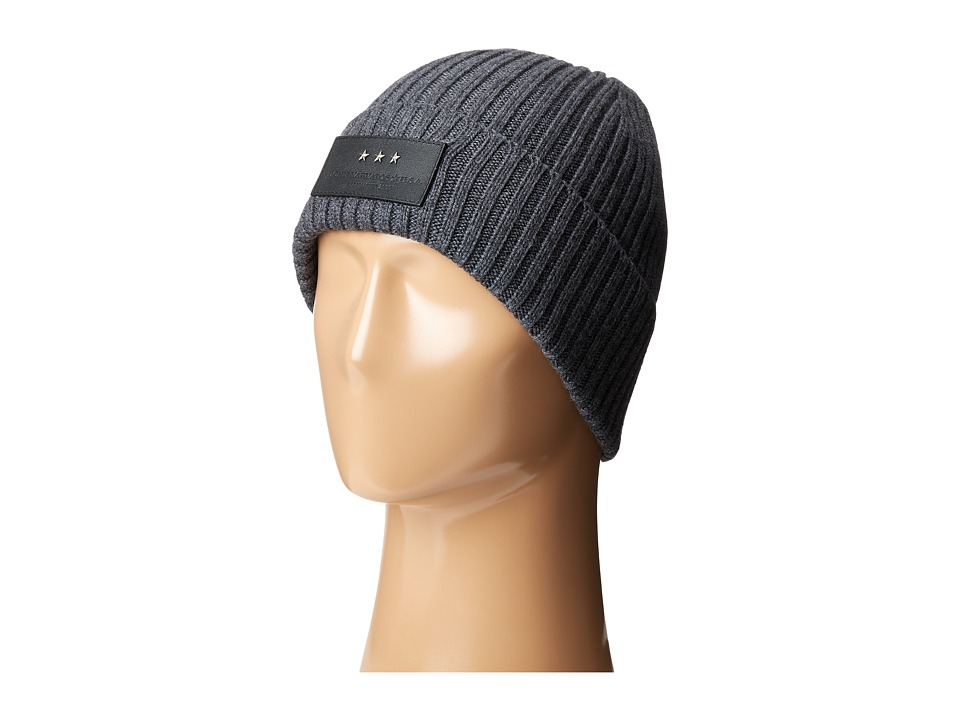 John Varvatos Star U.S.A. - 2x2 Rib Knit Hat with Cuff (Charcoal Heather) Knit Hats