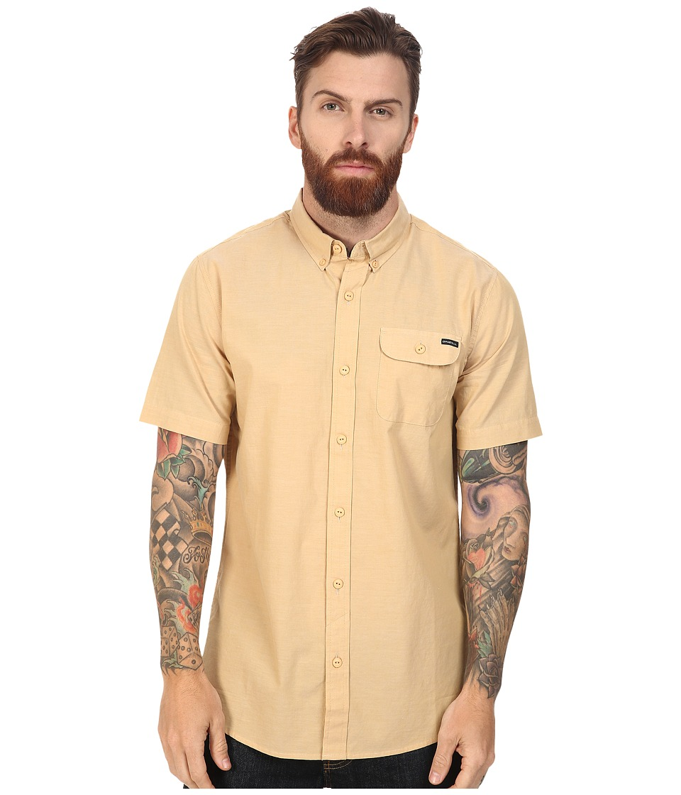 O'Neill - Emporium Solid Short Sleeve Wovens (Gold) Men's Short Sleeve Button Up