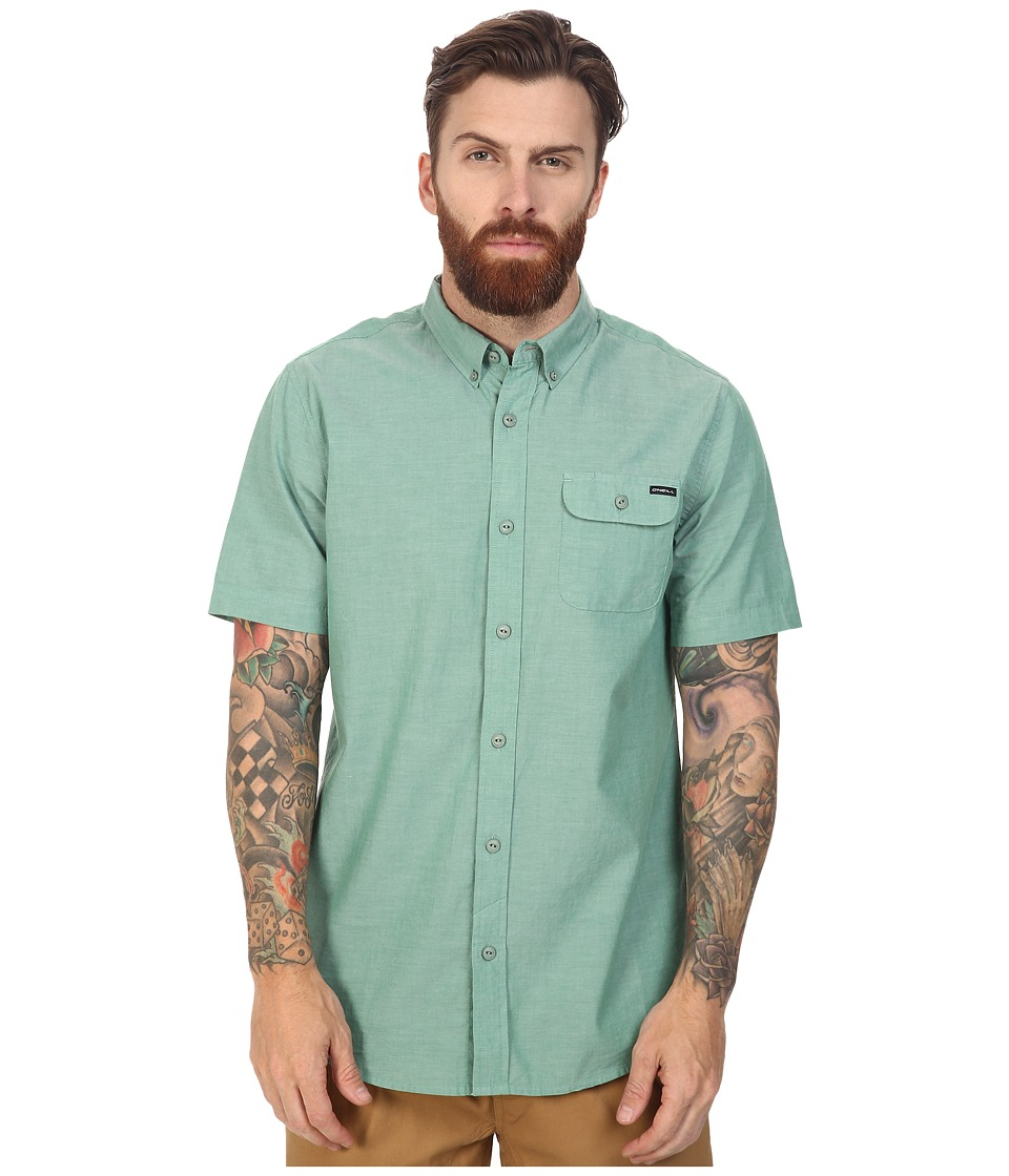 O'Neill - Emporium Solid Short Sleeve Wovens (Green) Men's Short Sleeve Button Up