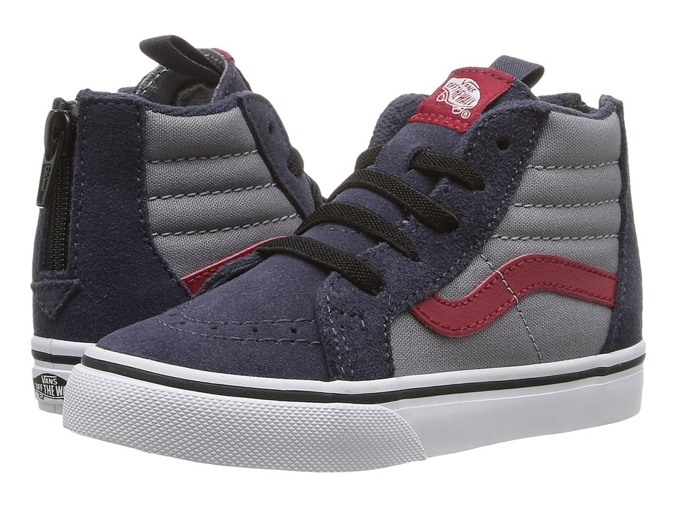 Vans Kids - Sk8-Hi Zip (Toddler) ((Pop) Parisian Night/Racing Red) Boys Shoes