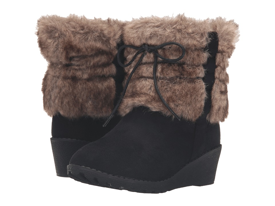 kensie girl Kids - Ankle Fur Boots (Little Kid/Big Kid) (Black Suede) Girls Shoes