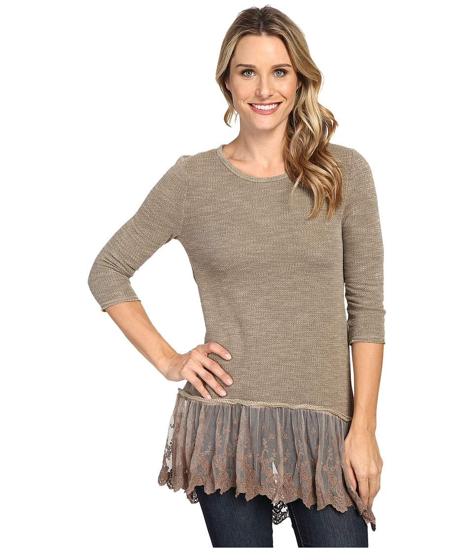 Dylan by True Grit - Luxe Sparkle Slub 3/4 Sleeve Top w/ Victorian Lace Hem (Fawn) Women's Clothing