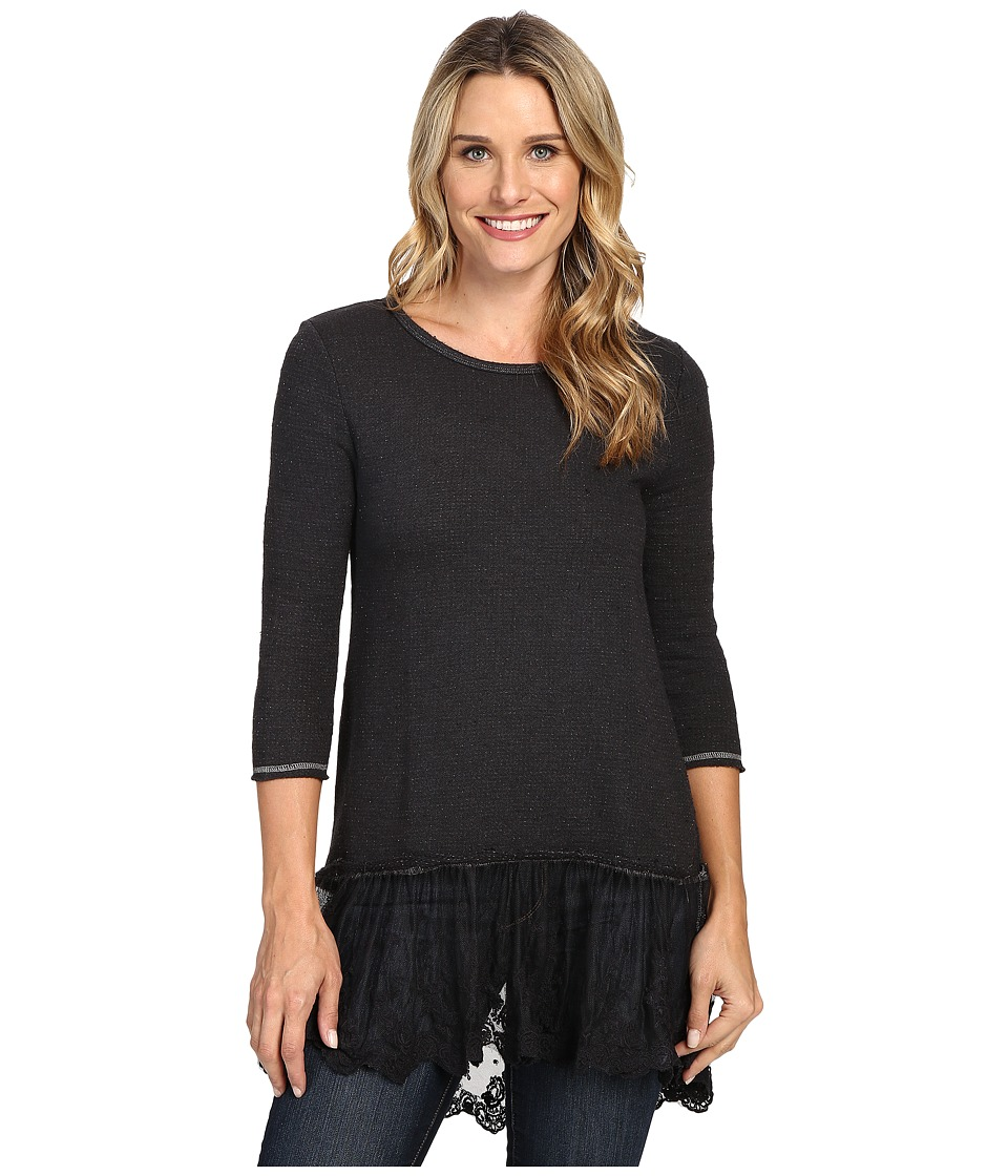 Dylan by True Grit - Luxe Sparkle Slub 3/4 Sleeve Top w/ Victorian Lace Hem (Soft Black) Women's Clothing