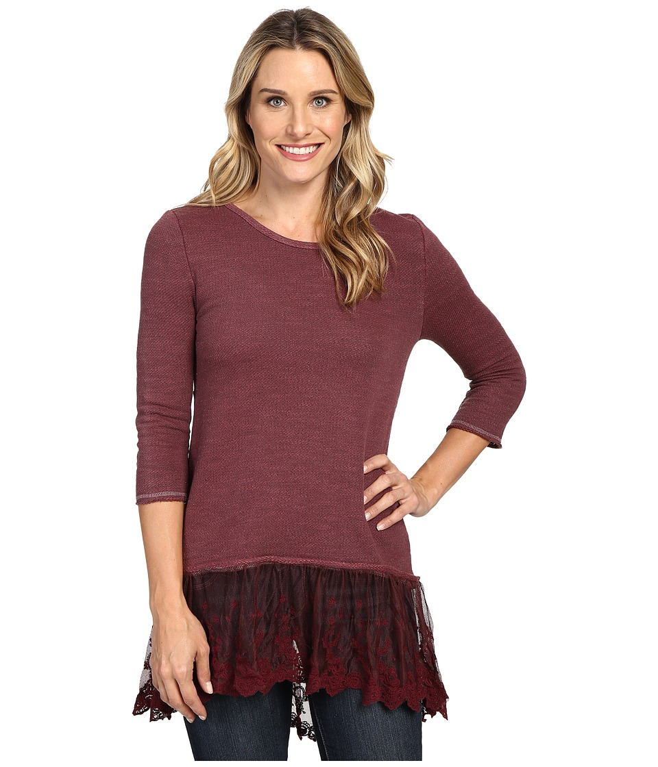 Dylan by True Grit - Luxe Sparkle Slub 3/4 Sleeve Top w/ Victorian Lace Hem (Claret) Women's Clothing