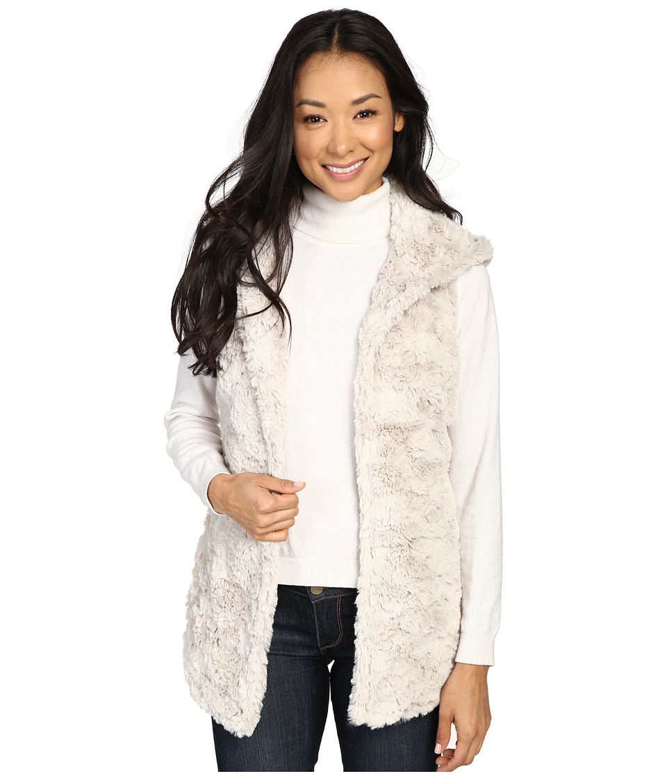 Dylan by True Grit - Plush Faux Classic Silky Fur Hood Vest w/ Fur Lining (Winter White) Women's Vest