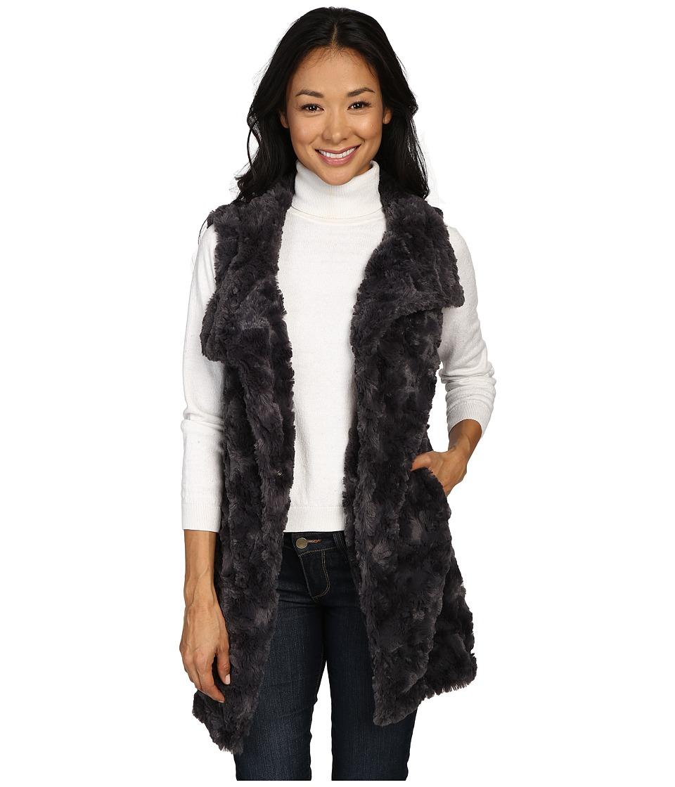 Dylan by True Grit - Plush Faux Classic Silky Fur Long Snap Vest (Charcoal) Women's Vest