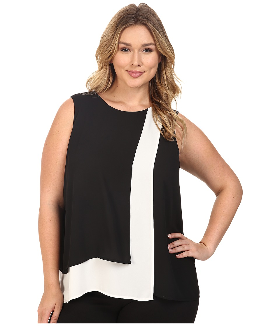 Vince Camuto Specialty Size - Plus Size Sleeveless Color Blocked Layered Blouse (Rich Black) Women's Blouse