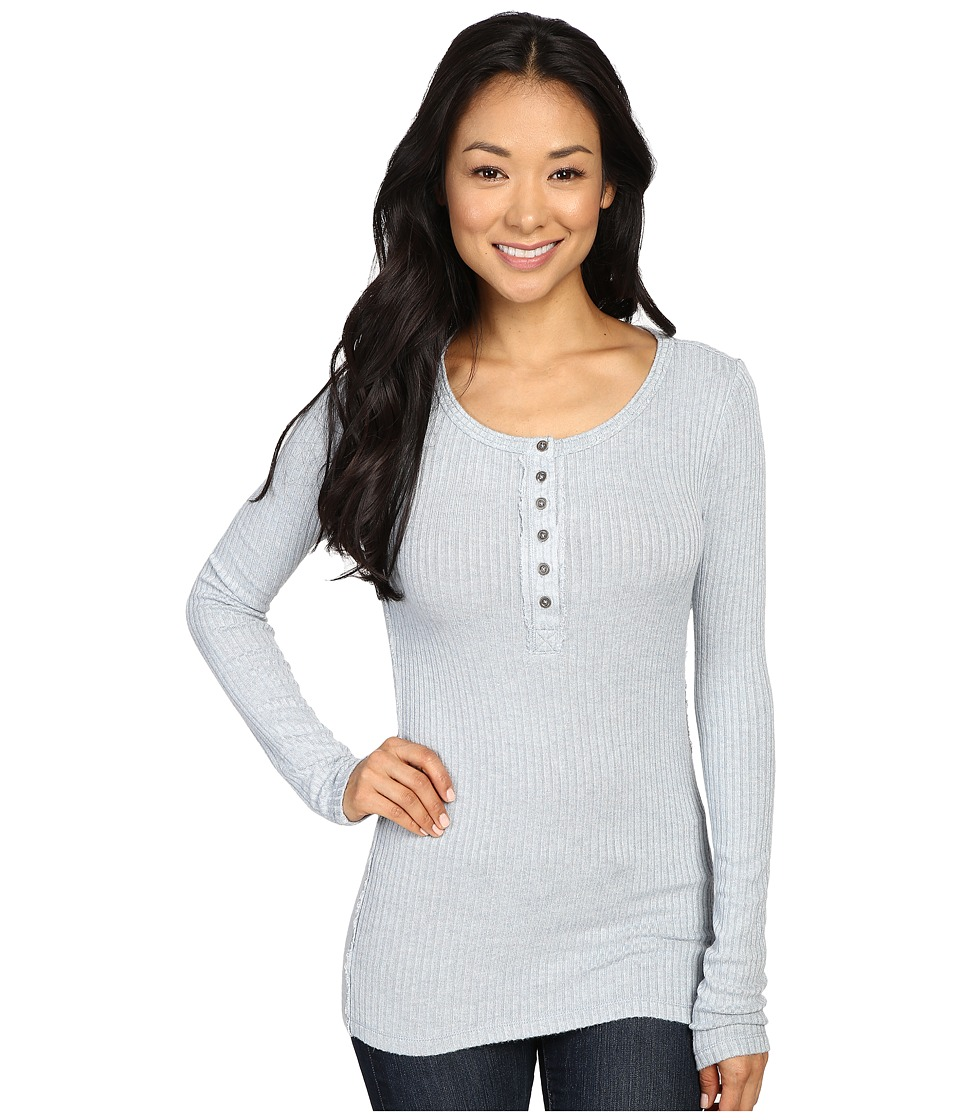 Dylan by True Grit - Soft Rayon Thermal Rib Henley (Chambray) Women's Long Sleeve Pullover