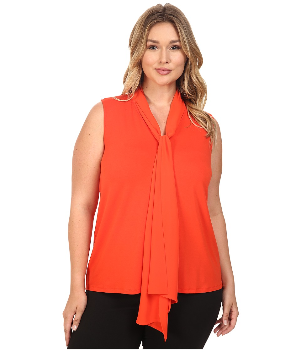 Vince Camuto Specialty Size - Plus Size Sleeveless High-Low Hem V-Neck Top with Woven Scarf (Vivid Flame) Women's Sleeveless