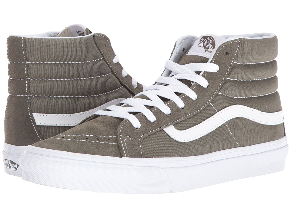 Vans - SK8-Hi Slim ((Suede/Canvas) Grape Leaf/True White) Skate Shoes
