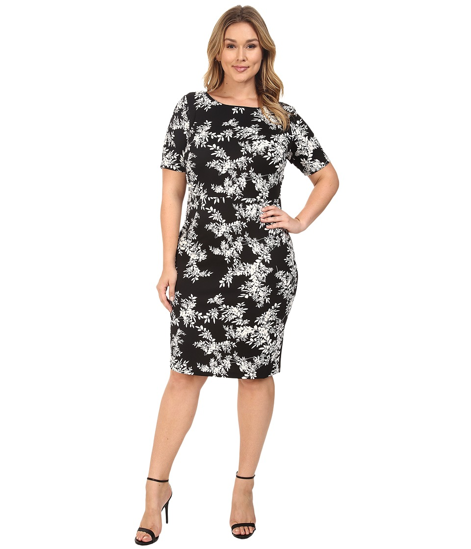 Vince Camuto Plus - Plus Size Short Sleeve Delicate Foliage Scuba Midi Dress (Rich Black) Women's Dress