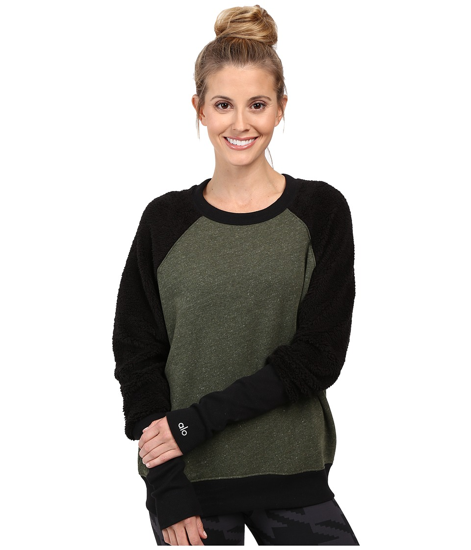 ALO - Deck Long Sleeve Top (Jungle Heather/Black) Women's Long Sleeve Pullover