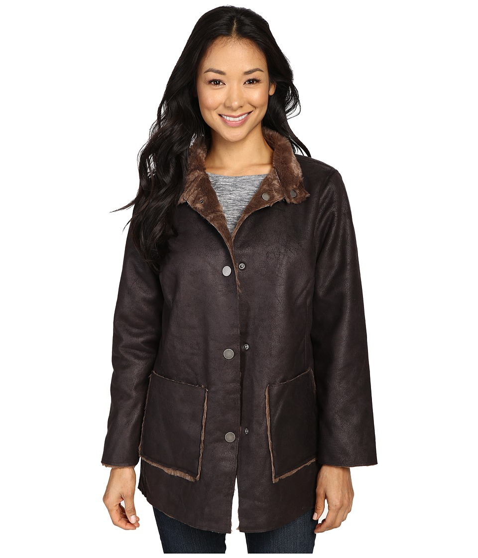 Dylan by True Grit - Easy Rider Vintage Faux Leather Reversible Coat w/ Snap Closure and Pockets (Sienna) Women's Coat