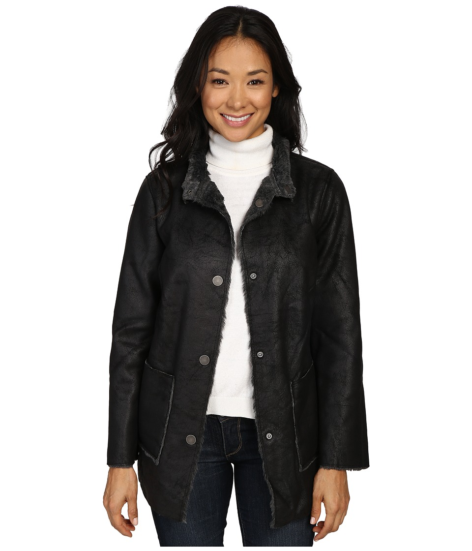 Dylan by True Grit - Easy Rider Vintage Faux Leather Reversible Coat w/ Snap Closure and Pockets (Vintage Black) Women's Coat
