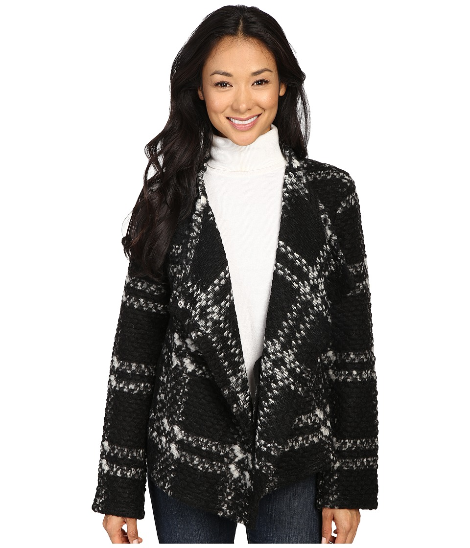 Dylan by True Grit - Cortina Plaid Italian Yarn Jacket (Black/Natural) Women's Coat