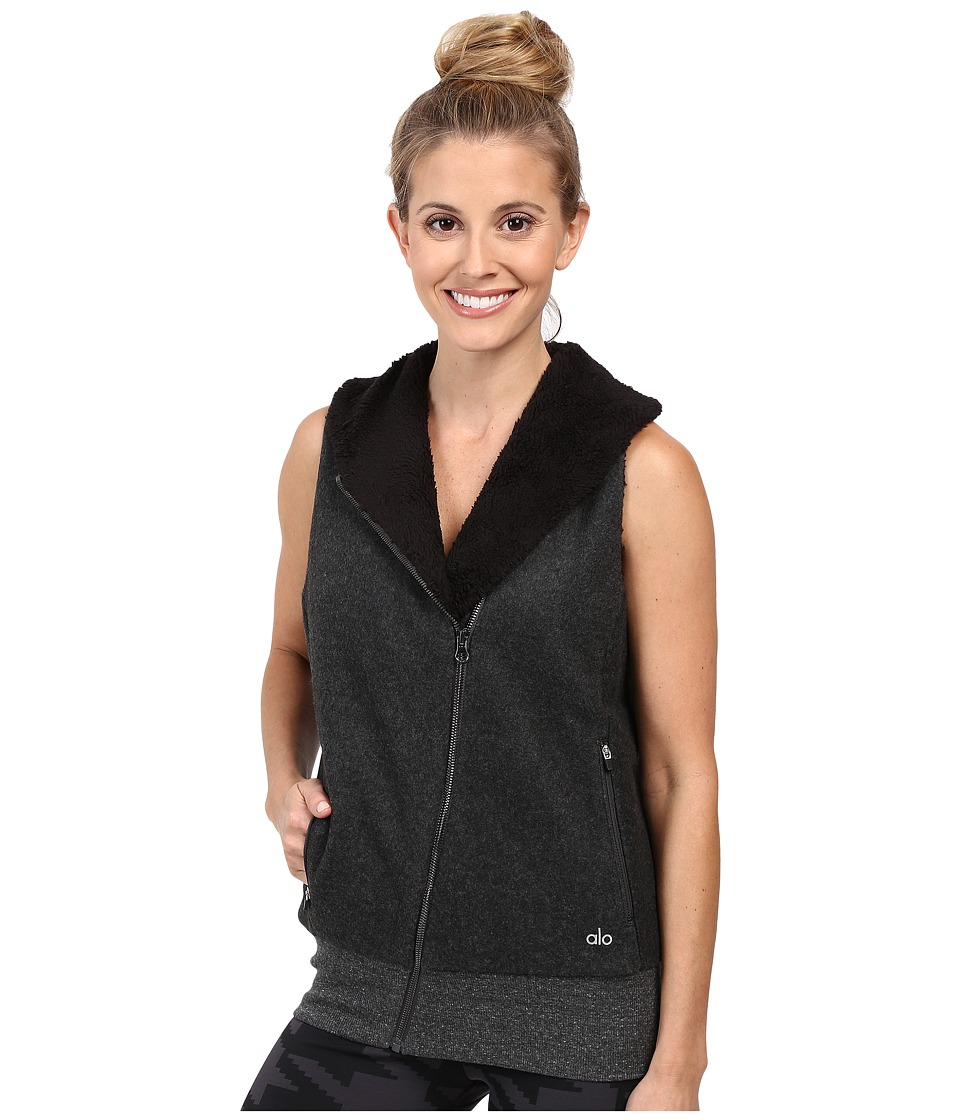 ALO - Flat Iron Vest (Charcoal Heather/Black) Women's Vest