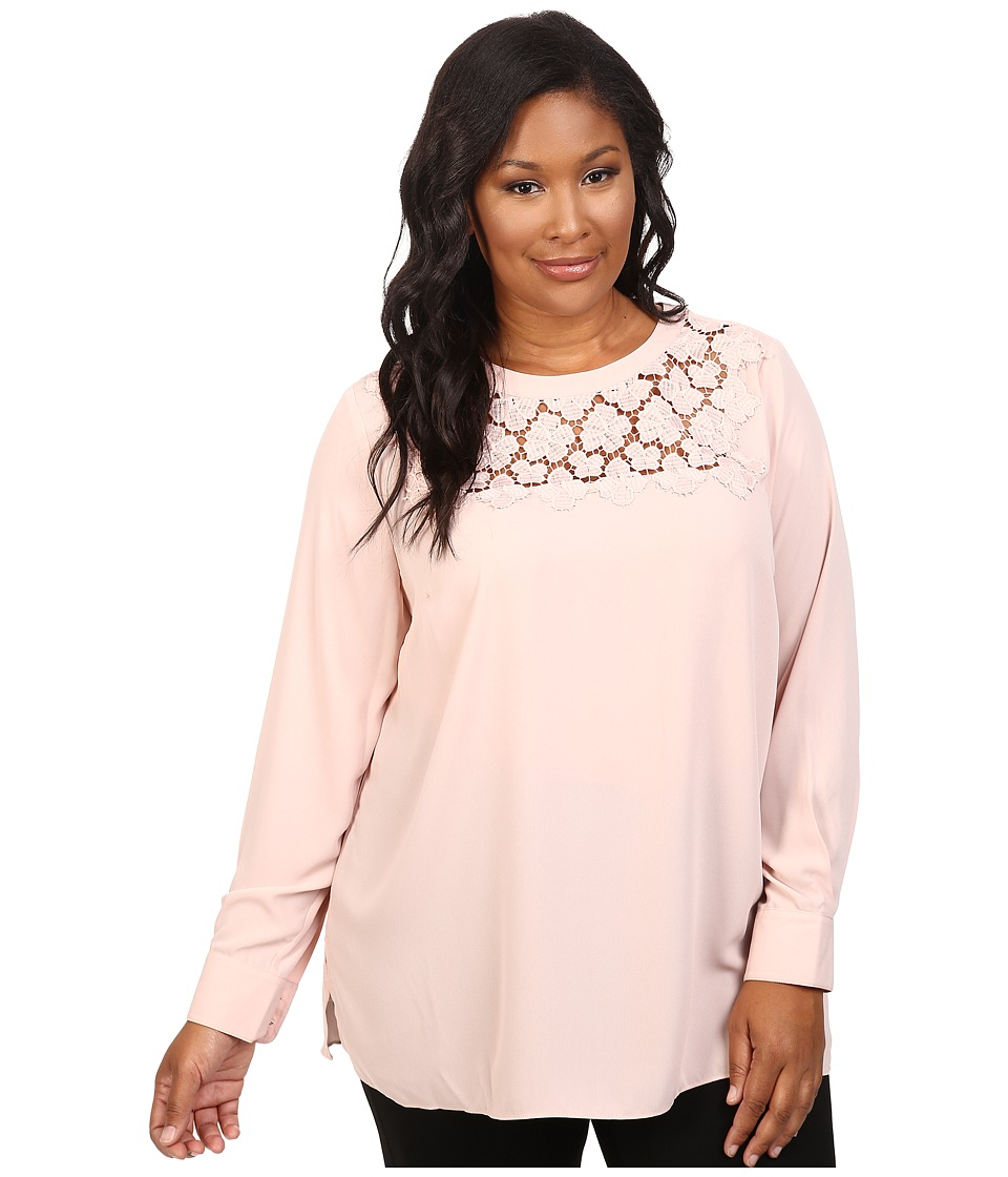 Vince Camuto Specialty Size - Plus Size Long Sleeve Blouse with Embroidered Lace Yoke (Rosy Flush) Women's Blouse