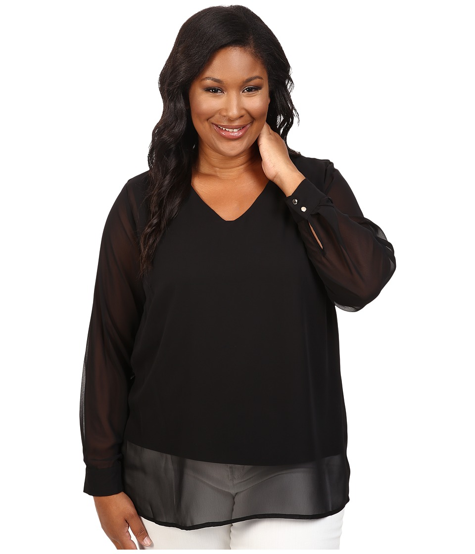 Vince Camuto Specialty Size - Plus Size Long Sleeve Shirttail V-Neck Blouse with Knit Underlay (Rich Black) Women's Blouse
