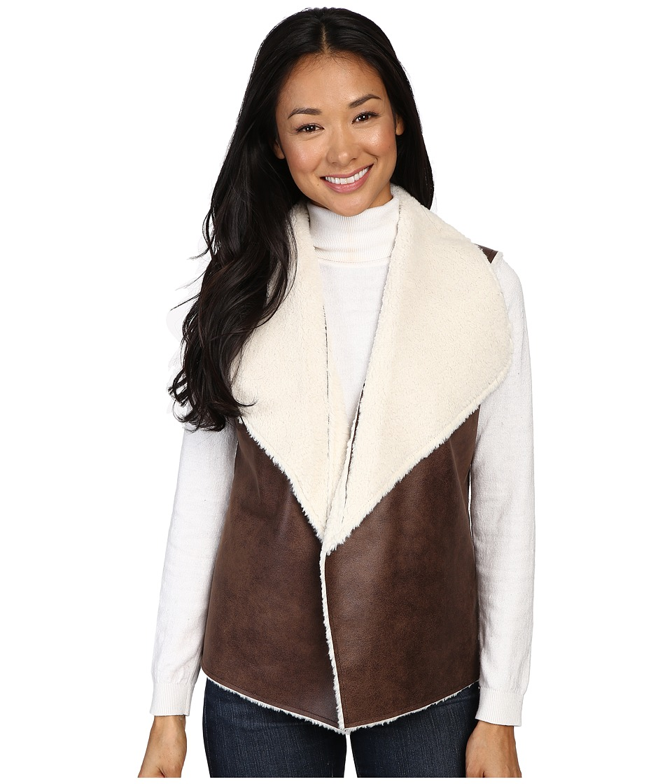 Dylan by True Grit - 70s Shearling Bowie Vest (Brown/Natural) Women's Vest