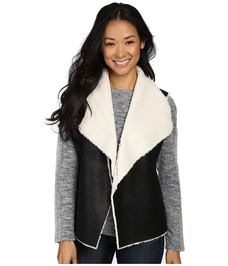 Dylan by True Grit - 70s Shearling Bowie Vest (Black/Natural) Women's Vest