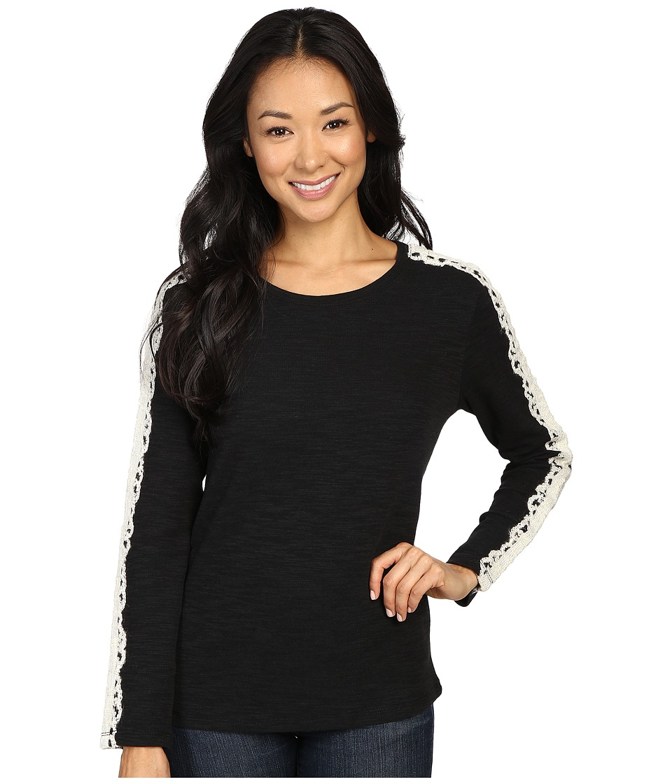 Dylan by True Grit - French Lace Slub Knit Tee (Black/Ecru Lace) Women's T Shirt