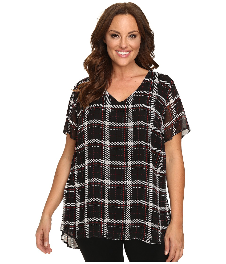 Vince Camuto Specialty Size - Plus Size Short Sleeve Harbour Plaid V-Neck Blouse with Knit (Rich Black) Women's Blouse