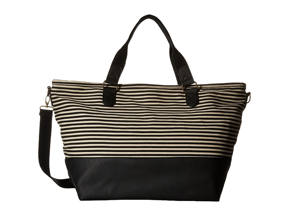 Madden Girl - Mgtrvlrr Overnighter (Black/White Canvas Stripe) Handbags