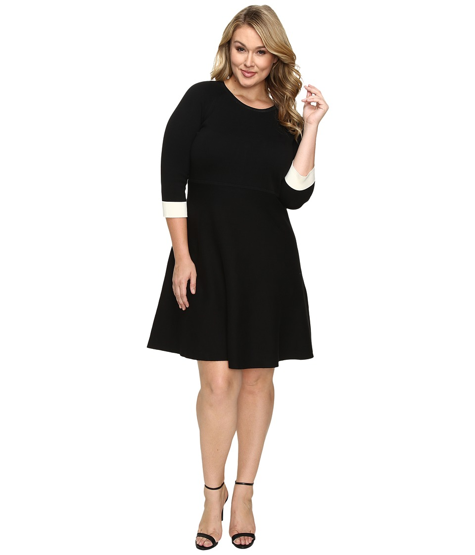 Vince Camuto Specialty Size - Plus Size Long Sleeve Flare Sweater Dress (Rich Black) Women's Dress